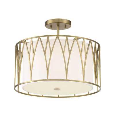 Minka Lavery Regal Terrace 1-Light Soft Brass LED Semi Flush Mount Light - Home Depot