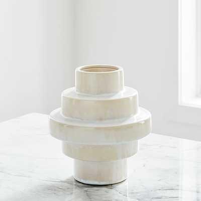 Stepped Form Ceramic Round Steps, Transculent White - West Elm