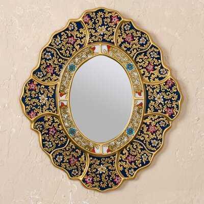 """Kaydan Reverse Painted Glass """"Garden Gold"""" Wall Mirror - Wayfair"""