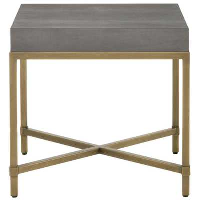 Izabella Modern Classic Grey Faux Shagreen Resin Gold Metal Side End Table - Kathy Kuo Home