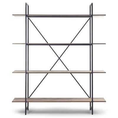 "August 56"" Light Brown Metal Frame Etagere Three Wide Shelf Bookcase Media Center - Wayfair"
