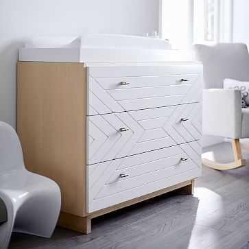 Cora Carved Changing Table, Natural + Simply White - West Elm