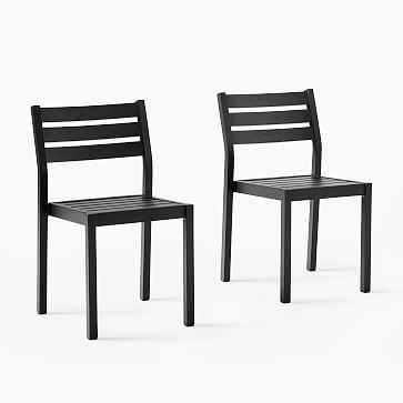 Portside Aluminum Outdoor Dining Chair, Antique Bronze, Set of 2 - West Elm