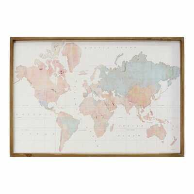 'World Map' Picture Frame Graphic Art Print on Wood - Wayfair