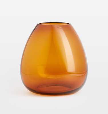 Audrey Medium Wide Mouth Amber Glass Vase - Rejuvenation