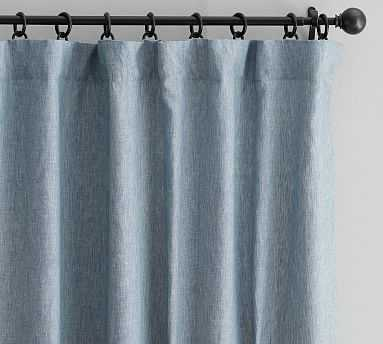 "Classic Belgian Linen Curtain, Blue Chambray, 96 x 50"" White Cotton Lining - Pottery Barn"