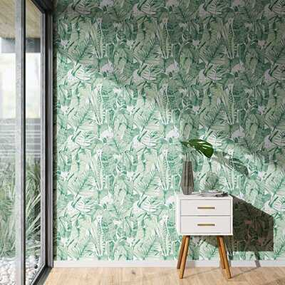 "Waloo Tropical Jungle 16.5"" L x 20.5"" W Smooth Peel and Stick Wallpaper Roll - AllModern"