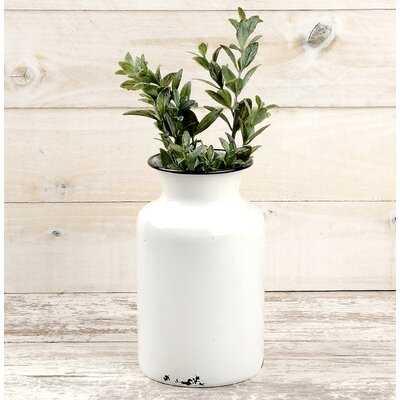 Fraya White 8'' Metal Table Vase - Wayfair