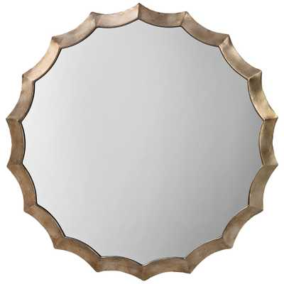 """Jamie Young Antique Silver 32"""" Round Scalloped Wall Mirror - Style # 77E79 - Lamps Plus"""