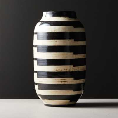 Cristo Black and White Striped Vase - CB2