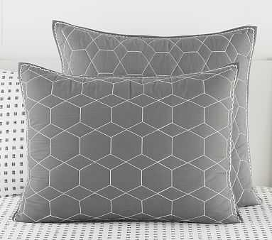 Pw Honeycomb Quilt, Standard Sham, Charcoal, - Pottery Barn Kids