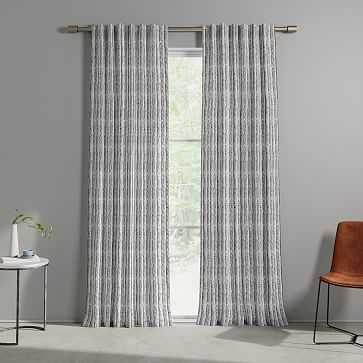 "Wave Stripe Curtain, Black, Set of 2, 48""x84"" - West Elm"