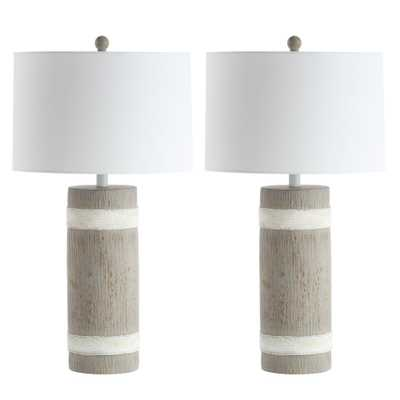 Safavieh Brixton 28.5 in. Brown/White Table Lamp (Set of 2) - Home Depot