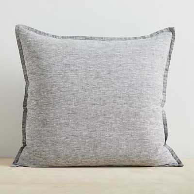 "Melange European Flax Linen Pillow Cover, Slate, 20""x20"" - West Elm"