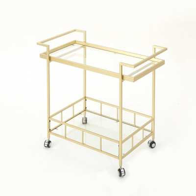 Ambrose Industrial Bar Cart Gold - Christopher Knight Home - Target