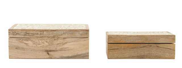 Handcarved & Whitewashed Mango Wood Boxes (Set of 2 Sizes) - Nomad Home