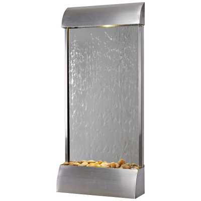 """Breckenridge 42"""" High Steel Mirror LED Outdoor Wall Fountain - Style # 78E57 - Lamps Plus"""