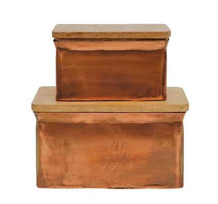 Iron Boxes with Wood Lids (Set of 2 Sizes) - Nomad Home