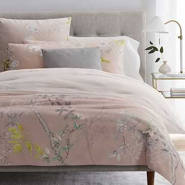 Sateen Chinoiserie Duvet, King, Misty Rose - West Elm