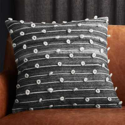 """20"""" Margaux Dark Grey French Knot Pillow with Feather- Down Insert - CB2"""