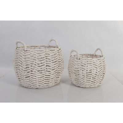 StyleWell Ivory Round Water Hyacinth Decorative Basket (Set of 2) - Home Depot