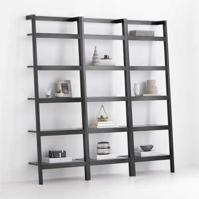 Sawyer Black Leaning 24.5'' Bookcases, Set of 3 RESTOCK IN EARLY APRIL 2021 - Crate and Barrel