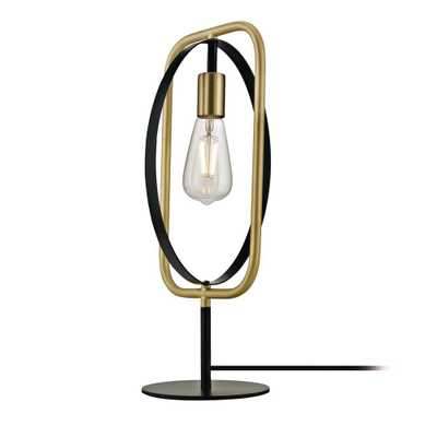 Addington Park Anjo 1-Light Table Lamp with Pivoting Frame and Exposed Socket, Black and Satin Brass - Home Depot
