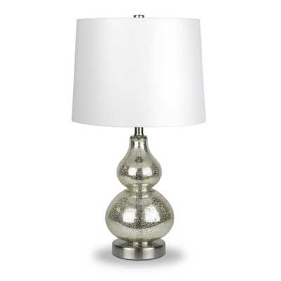 Hudson&Canal Katrina 21-1/4 in. Mercury Glass Petite Gourd Table Lamp - Home Depot