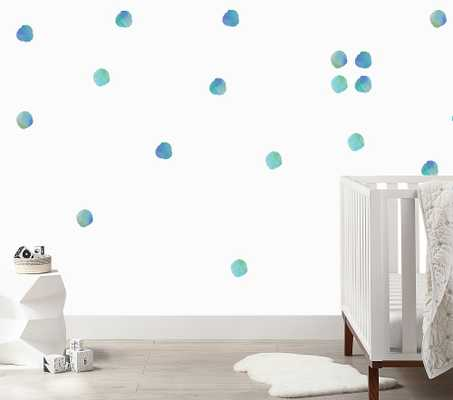 Watercolor Dots Wall Decal, Blues - Pottery Barn Kids