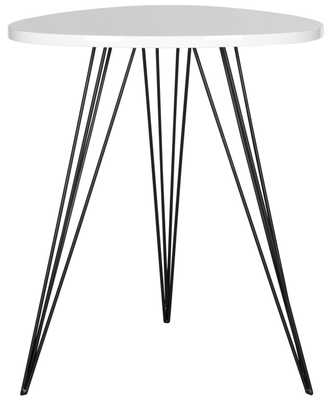 Wolcott Retro Mid Century Lacquer Side Table - White/Black - Arlo Home - Arlo Home
