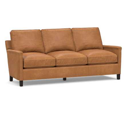 Tyler Square Arm Leather Sofa, Down Blend Wrapped Cushions, Churchfield Camel - Pottery Barn