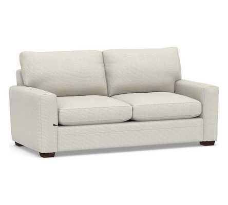Pearce Modern Square Arm Upholstered Grand Sofa, Down Blend Wrapped Cushions, Performance Heathered Basketweave Dove - Pottery Barn