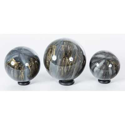 Prima Design Source 3 Piece Cathedral Stone Hand Blown Glass Display Spheres on Iron Ring Stands Sculpture Set - Perigold