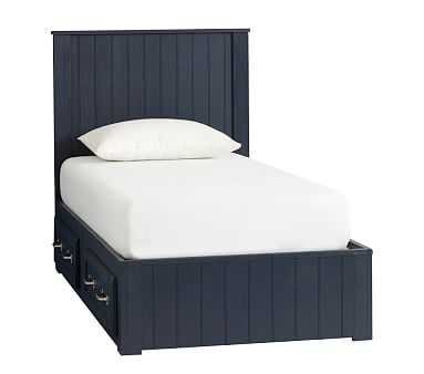 Belden Bed with Headboard, Twin, Weathered Navy, Flat Rate - Pottery Barn Kids