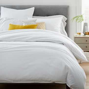 Organic Washed Cotton Duvet, Full/Queen, Stone White - West Elm