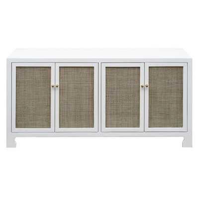 Erwin Coastal Beach Natural Woven Cane Doors White Wood Sideboard - Kathy Kuo Home
