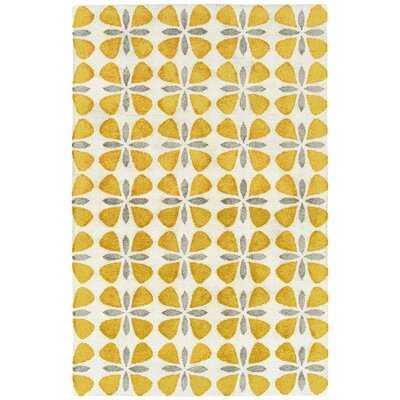 Baba Floral Handmade Tufted Yellow/Gray/White Indoor / Outdoor Area Rug - Wayfair