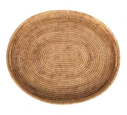 Summerville Handwoven Rattan Oval Serving Tray, Natural - Pottery Barn