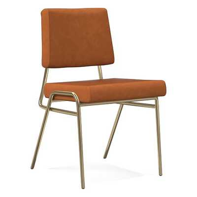 Wire Frame Dining Chair, Halo Leather, Saddle, Antique Bronze - West Elm