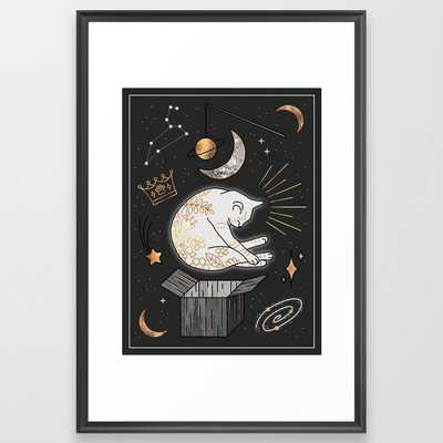 Ruler Of The Universe - Dreaming Cat Framed Art Print by Elisabeth Fredriksson - Scoop Black - LARGE (Gallery)-26x38 - Society6