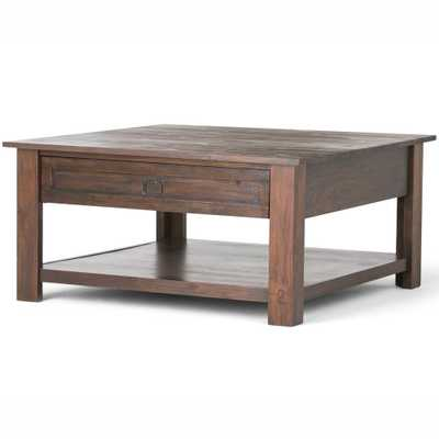 Brooklyn + Max 38 in. Sullivan Distressed Charcoal Brown Solid Acacia Wood Wide Square Rustic Coffee Table - Home Depot