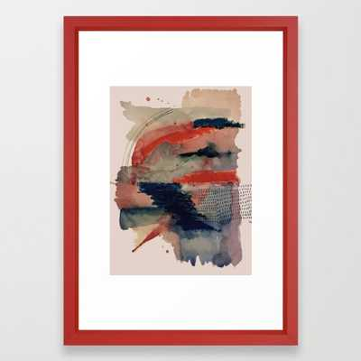 Independent: A Red And Blue Abstract Watercolor Framed Art Print by Alyssa Hamilton Art - Vector Red - SMALL-15x21 - Society6