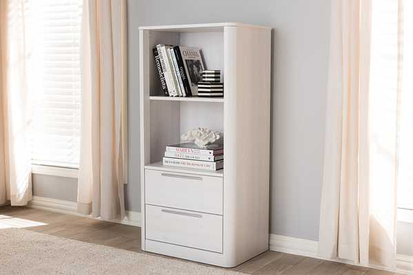 Baxton Studio Carlingford Modern and Contemporary Whitewashed Wood 2-Drawer Bookcase - Lark Interiors