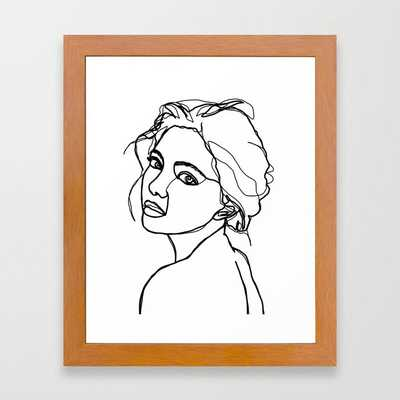 Woman S Face Line Drawing Adena Framed Art Print by The Colour Study - Conservation Pecan - X-Small-10x12 - Society6
