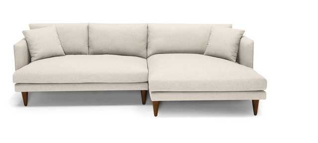 Beige/White Lewis Mid Century Modern Sectional - Cody Sandstone - Mocha - Right - Cone - Joybird