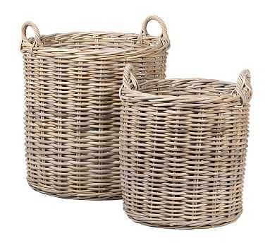 Portland Round Woven Tote Baskets, Set of 2 - Natural - Pottery Barn