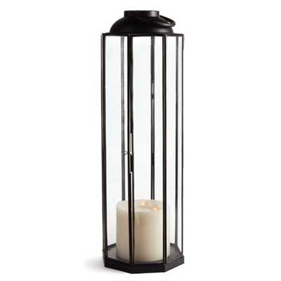 Terry French Country Black Metal and Glass Candle Lantern - Small - Kathy Kuo Home