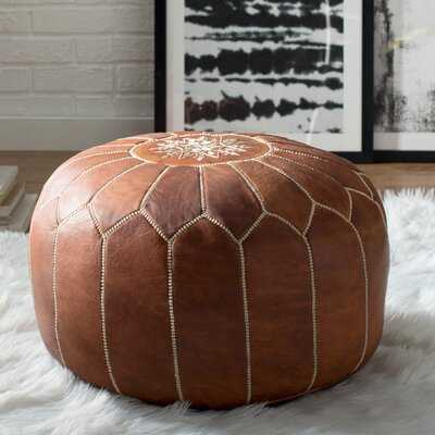 Averi Leather Pouf - AllModern