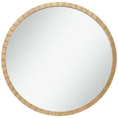 """Gracia Gold Leaf Post 34"""" Round Metal Framed Wall Mirror - Style # 87X74 - Lamps Plus"""
