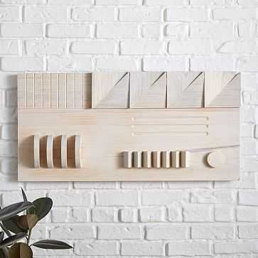 Carved Wood Wall Art, Panel 2, Natural, Wood, Large - West Elm